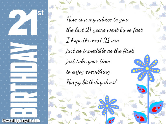 21st birthday greeting cards ; 21st-birthday-card-wordings