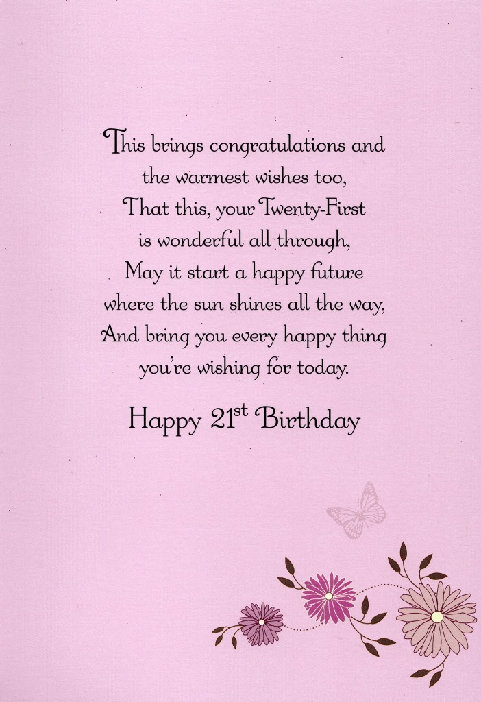 21st birthday greeting cards ; FLD021b-Birthday-Card