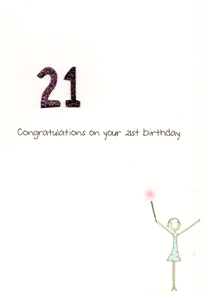 21st birthday greeting cards ; LV053b-21st-Birthday-Card