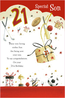 21st birthday greeting cards ; Son-21st-Birthday-Card-18704-p