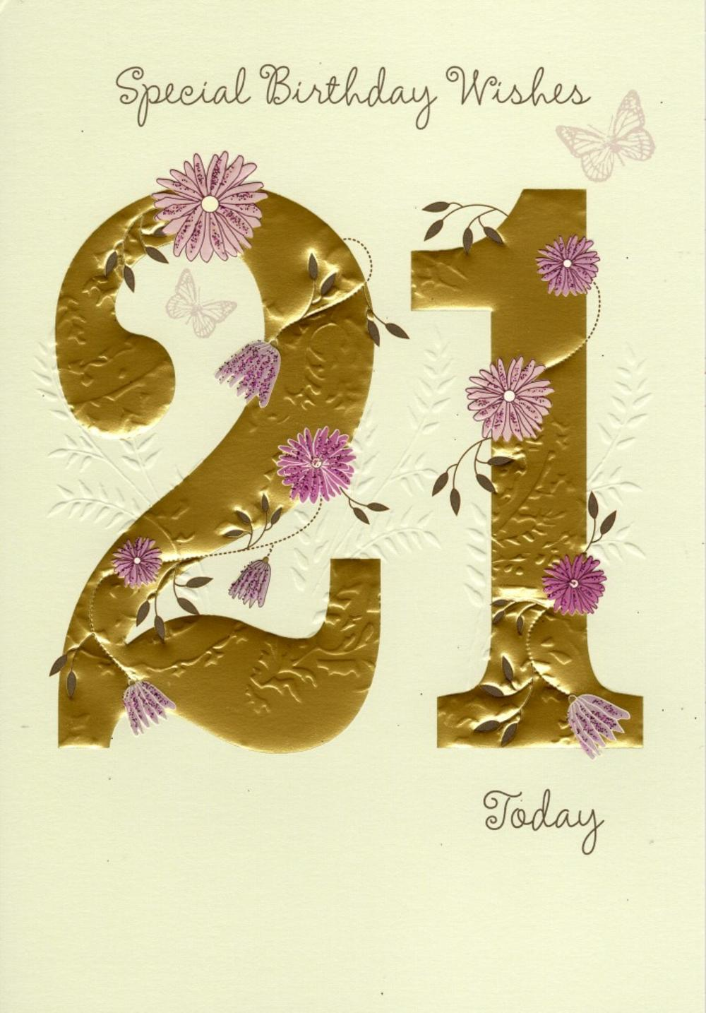 21st birthday greeting cards ; lrgscaleFLD021a-Birthday-Card