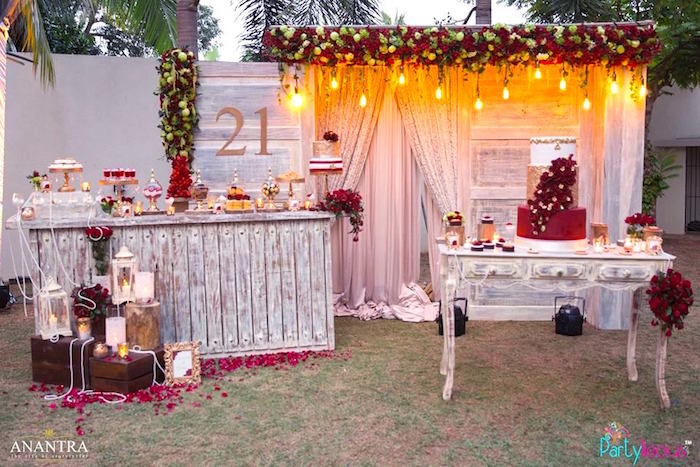 21st birthday party themes ; Rustic-Vintage-21st-Birthday-Party-via-Karas-Party-Ideas-KarasPartyIdeas