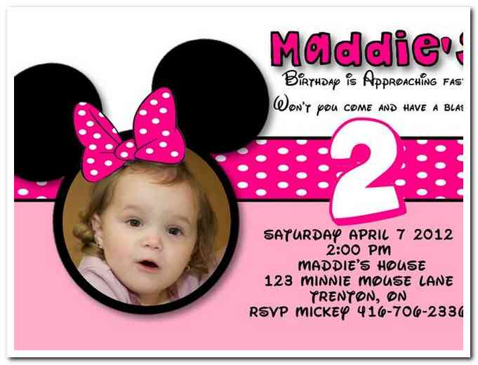 2nd birthday party invitation wording samples ; minnie-2nd-1