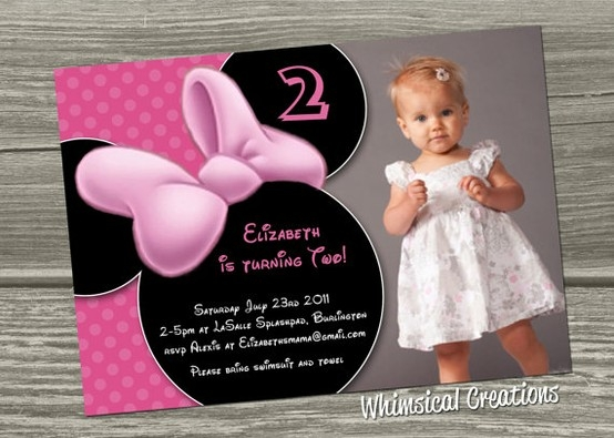 2nd birthday party invitation wording samples ; minnie-2nd_1