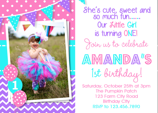 2nd birthday photo invitations ; 2nd-birthday-invitations-1st-birthday-invitation-purple-pink-turquoise-birthday