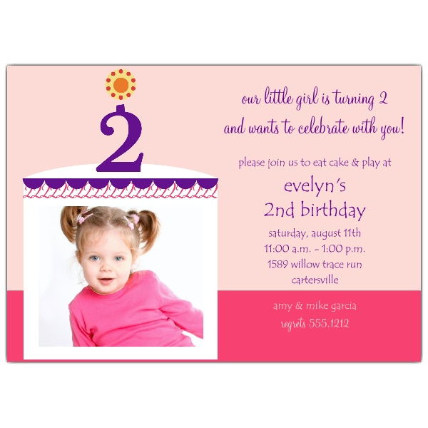 2nd birthday photo invitations ; Birthday-Cake-Girl-Photo-Second-Birthday-Invitations-p-604-57-CG002-z