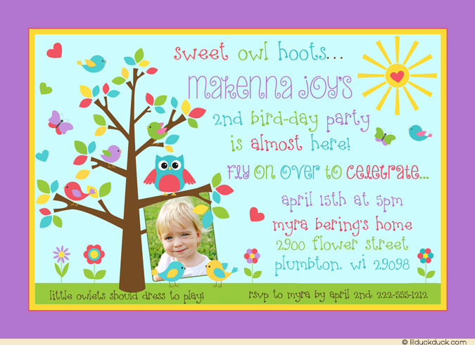 2nd birthday photo invitations ; Owl-tree-birthday-invitation-photo-party-girl-hoots-sunshine-l