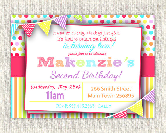 2nd birthday photo invitations ; il_570xN