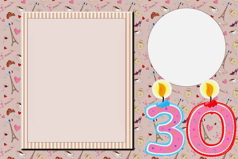 30th birthday border ; free-printable-30-birthday-kit-001