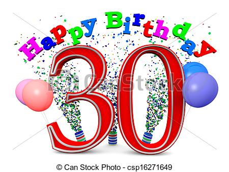 30th birthday clip art images ; happy-30th-birthday-drawing_csp16271649