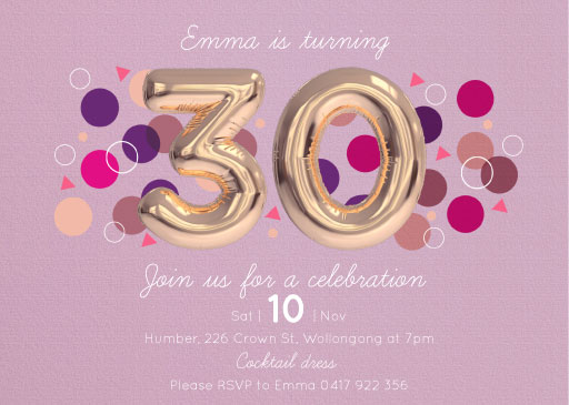 30th birthday invitations with photo ; Invite_landscape_178x127-2