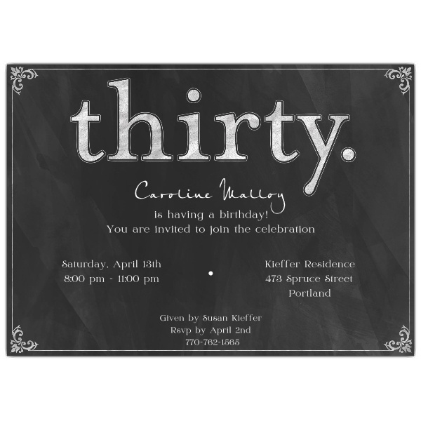 30th birthday invitations with photo ; Thirty-White-on-Black-Chalkboard-30th-Birthday-Invitations-p-610-75-320K-z
