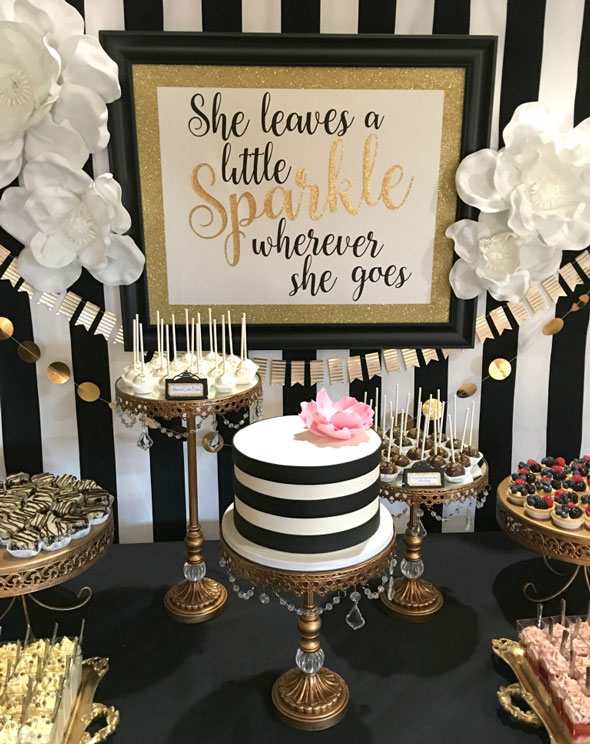 30th birthday party themes ; Kate-Spade-Dessert-Table