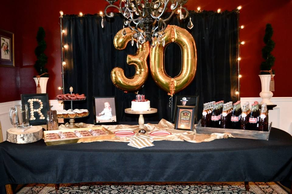 30th birthday party themes ; thirtieth-birthday-party-themes-masculine-decor-for-surprise-party-men-s-30th-birthday