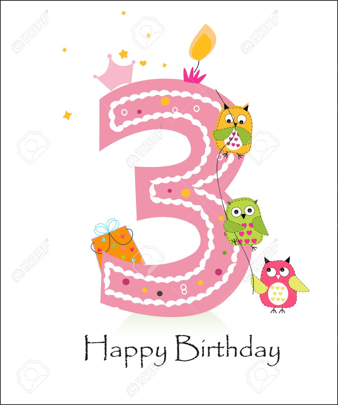 3rd birthday clipart ; 47878763-happy-third-birthday-baby-girl-greeting-card-with-owls-vector