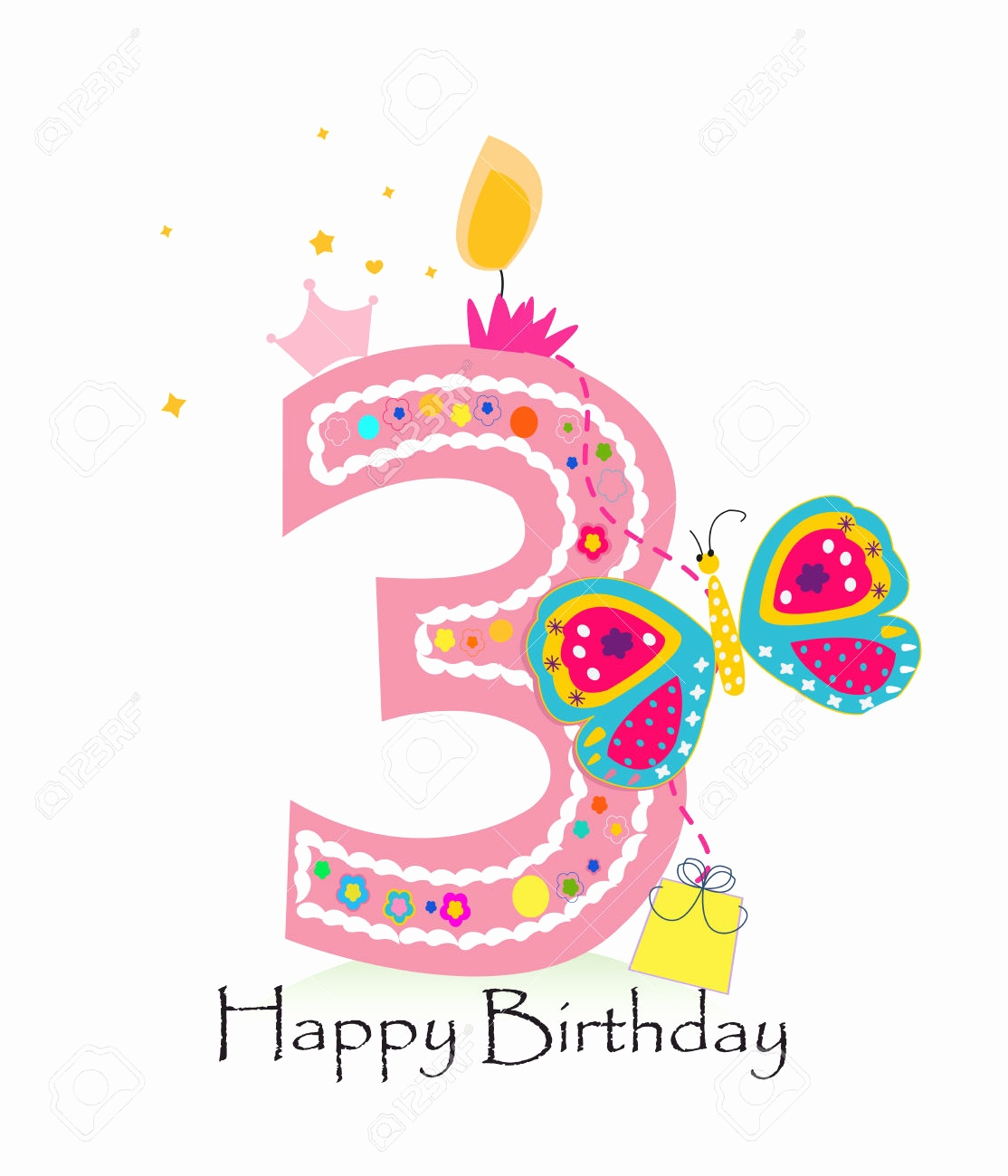 3rd birthday clipart ; third-birthday-card-lovely-candle-clipart-3rd-birthday-pencil-and-in-color-candle-clipart-of-third-birthday-card
