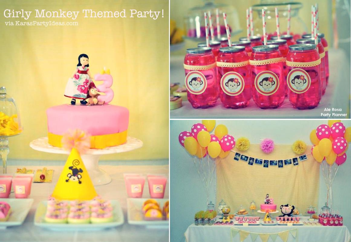 3rd birthday party themes for girl ; Girly-monkey-themed-birthday-party-via-Karas-Party-Ideas-karaspartyideas