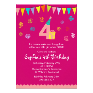 4 year old birthday invitation sayings ; four