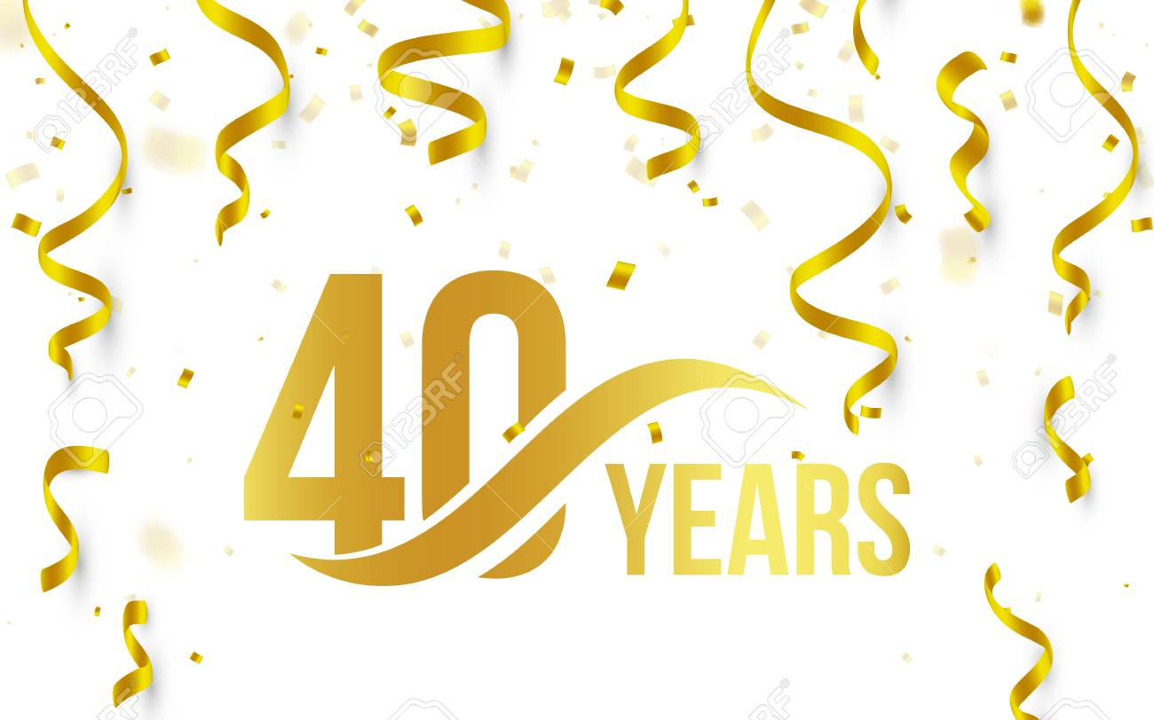 40th birthday background images ; 85618407-isolated-golden-color-number-40-with-word-years-icon-on-white-background-with-falling-gold-confetti-