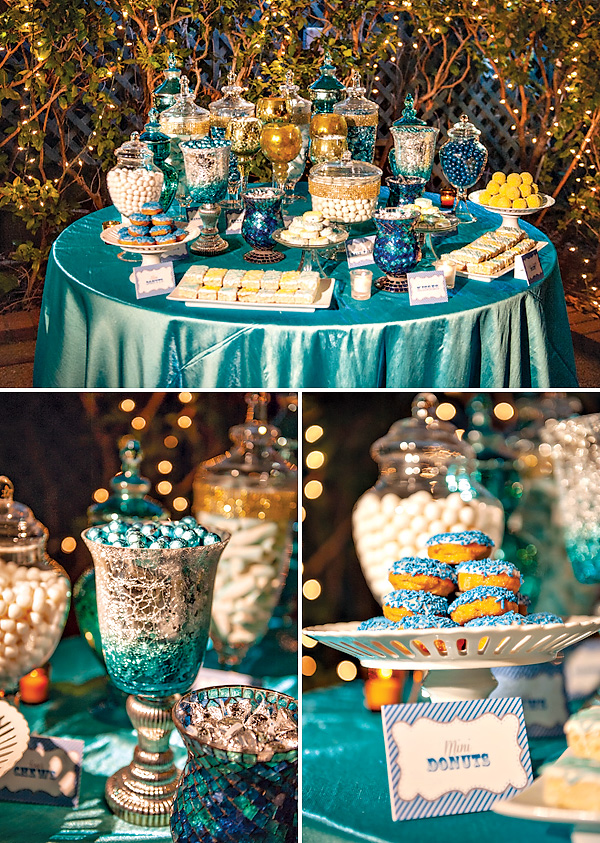 40th birthday color theme ; blue-party-candy