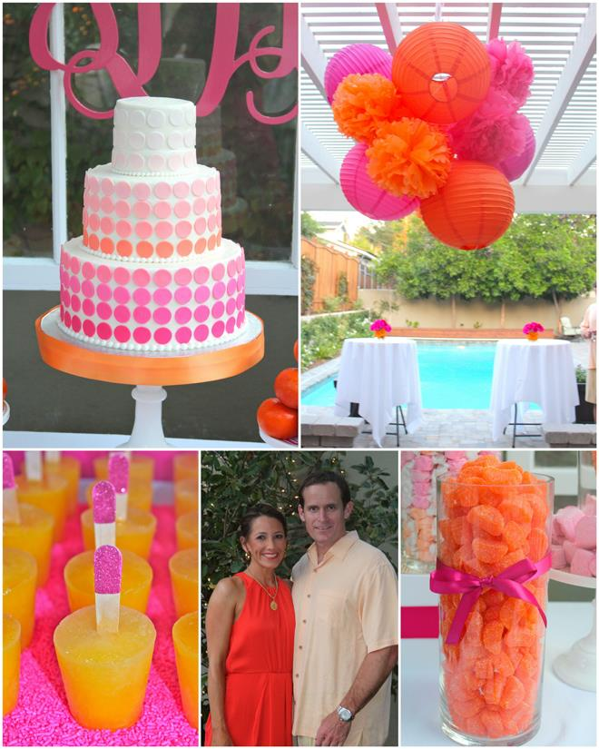 40th birthday color theme ; party-cake