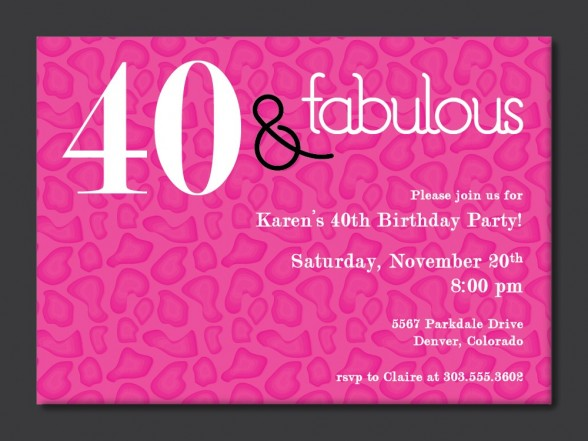 40th birthday party invitation designs ; 056883edb4135c8523bb710c3c3a0717