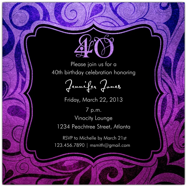 40th birthday party invitation designs ; Brilliant-Emblem-40th-Birthday-Party-Invitations-p-615-55-242-z