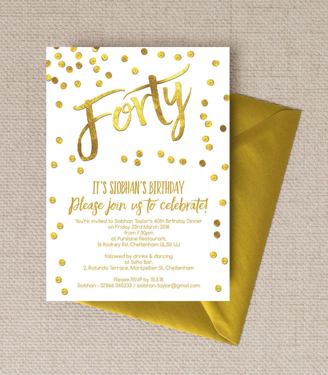 40th birthday party photo invitations ; Gold-confetti-calligraphy-style-personalised-milestone-birthday-party-invitations-invites-40th