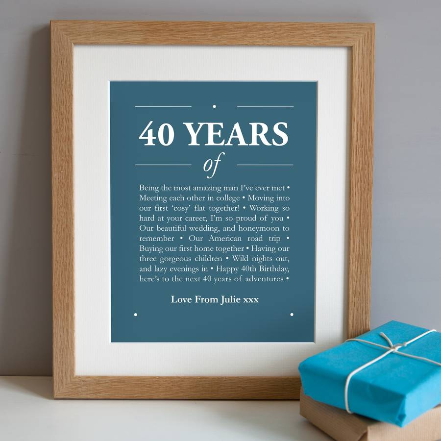 40th birthday picture frame ; original_personalised-40th-birthday-print