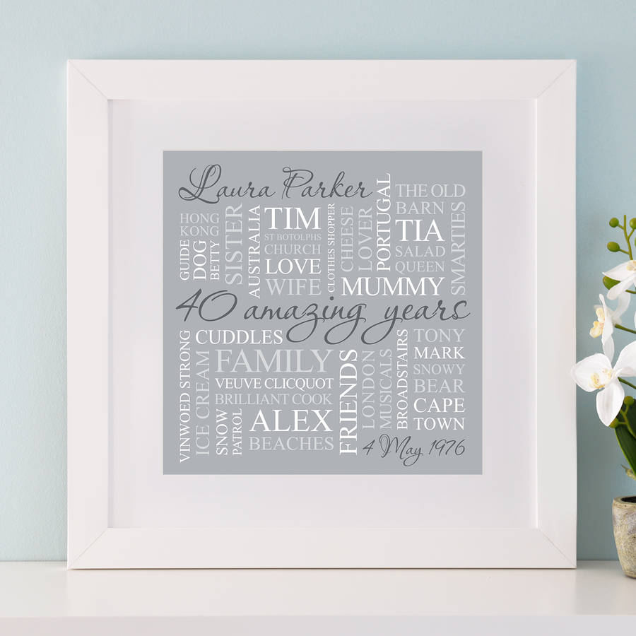 40th birthday picture frame ; original_personalised-40th-birthday-square-word-art