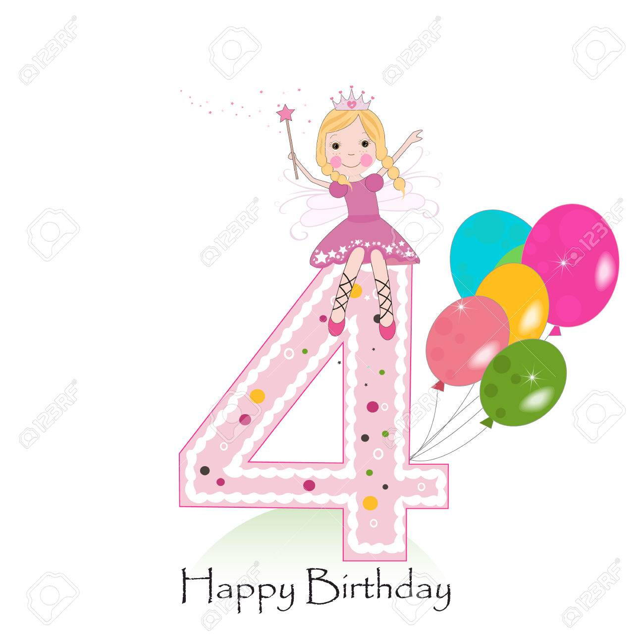 4th birthday clipart ; 71929991-happy-fourth-birthday-greeting-card-with-fairy-tale