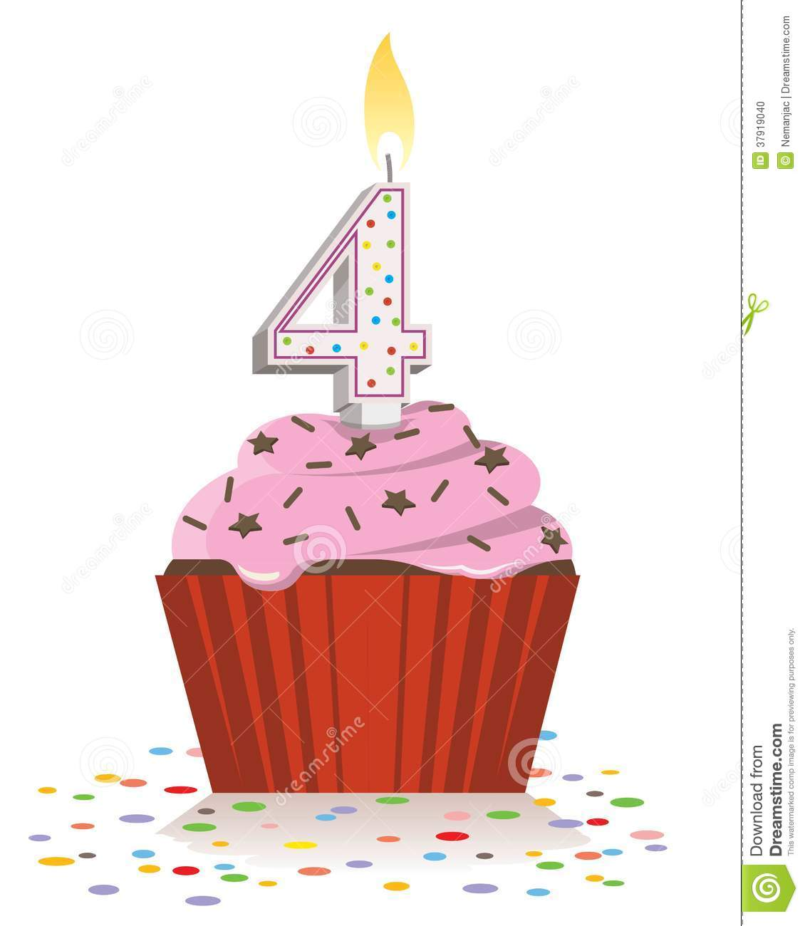 4th birthday clipart ; fourth-birthday-cupcake-lit-candle-shape-number-four-isolated-white-background-37919040