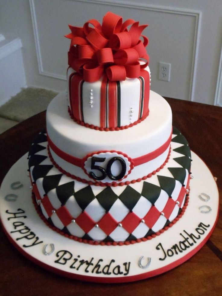 50th birthday cake with picture on it ; 50th-Birthday-Cake-Ideas-Diamond-Pattern