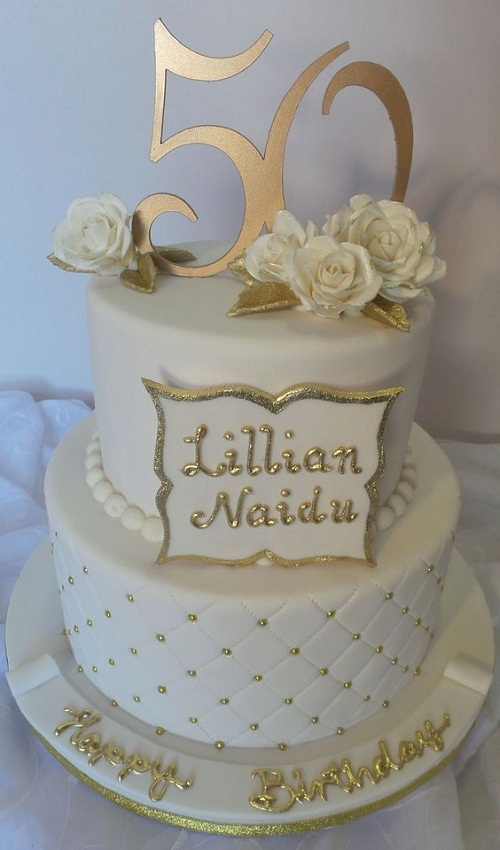 50th birthday cake with picture on it ; elegant-white-and-gold-50th-birthday-cakes