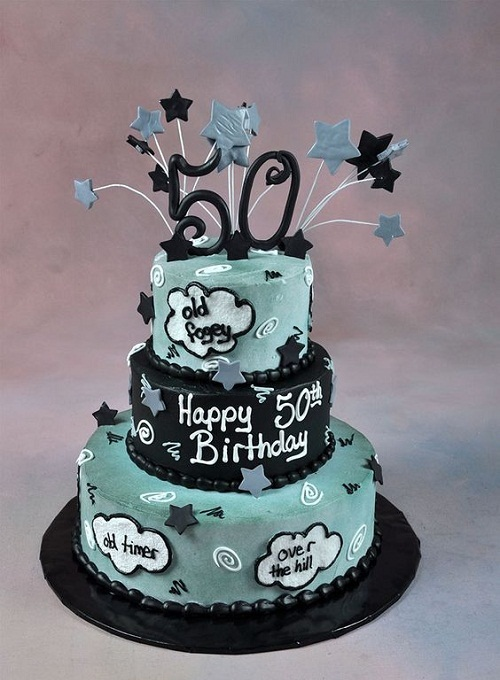 50th birthday cake with picture on it ; grey-and-black-cute-50th-birthday-cakes-for-men
