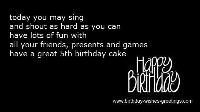 5th birthday card messages ; happy-5th-birthday-son-greetings