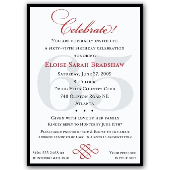 65th Birthday Invitations Templates Cozy 65Th For Additional