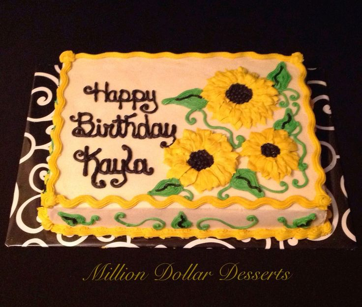 65th birthday sheet cake ; e0f2d35f5b160dd29be960257611dd9b--sunflower-cakes-sunflower-birthday-cake