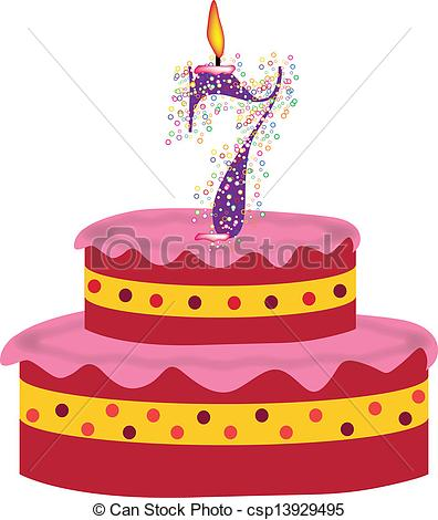 7th birthday clipart ; cake-of-seventh-birthday-drawing_csp13929495
