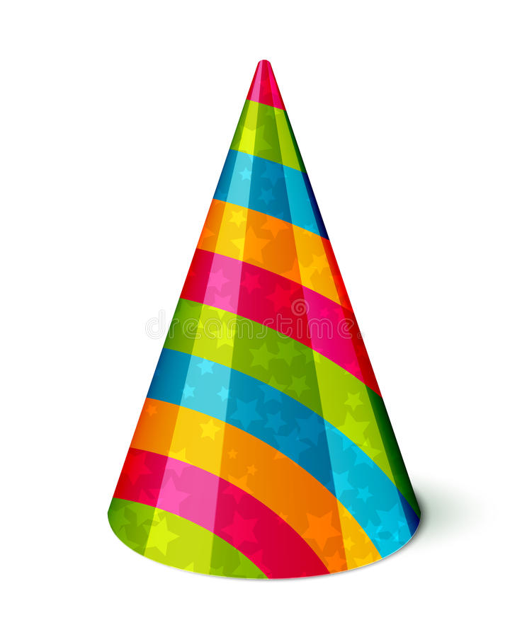 add a birthday hat to a picture ; party-hat-vector-stripes-stars-white-33506269