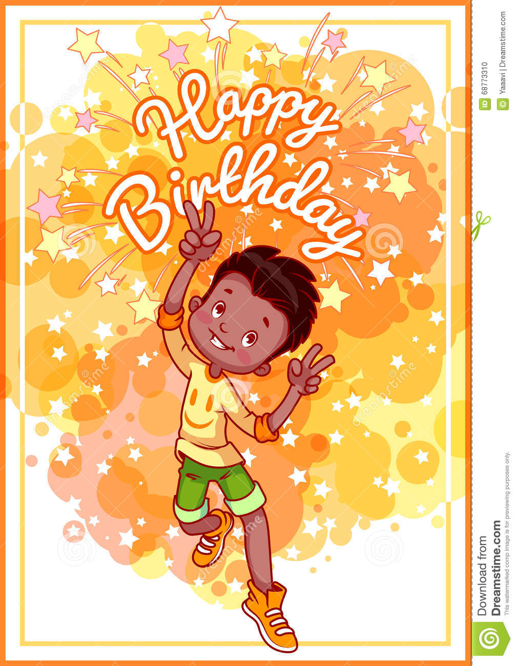 american birthday greeting cards ; greeting-card-birthday-happy-african-american-boy-vector-template-postcard-yellow-tones-68773310