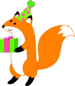 animal birthday clipart ; a_fox_wearing_a_party_hat_and_holding_a_gift_0071-0908-3115-5956_SMU