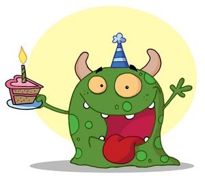 animal birthday clipart ; party_animal_monster_at_a_birthday_party_with_a_piece_of_cake_0521-1001-2815-3438_SMU