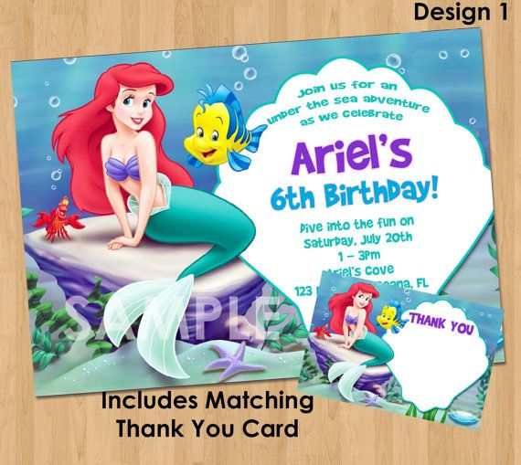 ariel birthday invitations printable ; 34724c4398a18f28b4b8d189faab4d3c