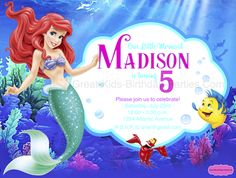 ariel birthday invitations printable ; 9085c7231566b22d5889f2b28f582250--little-mermaid-invitations-font-generator