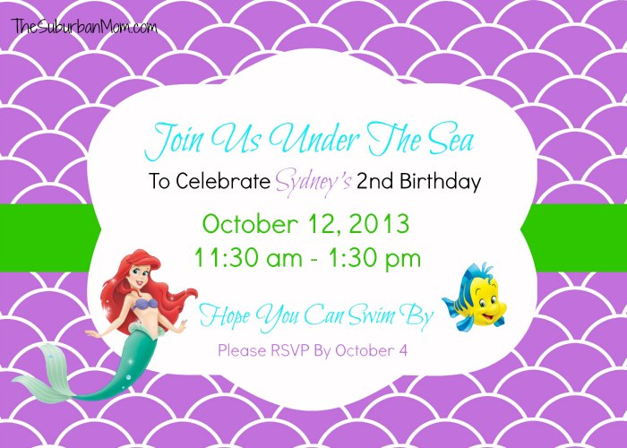 ariel birthday invitations printable ; Little-Memaid-Ariel-Birthday-Invitation