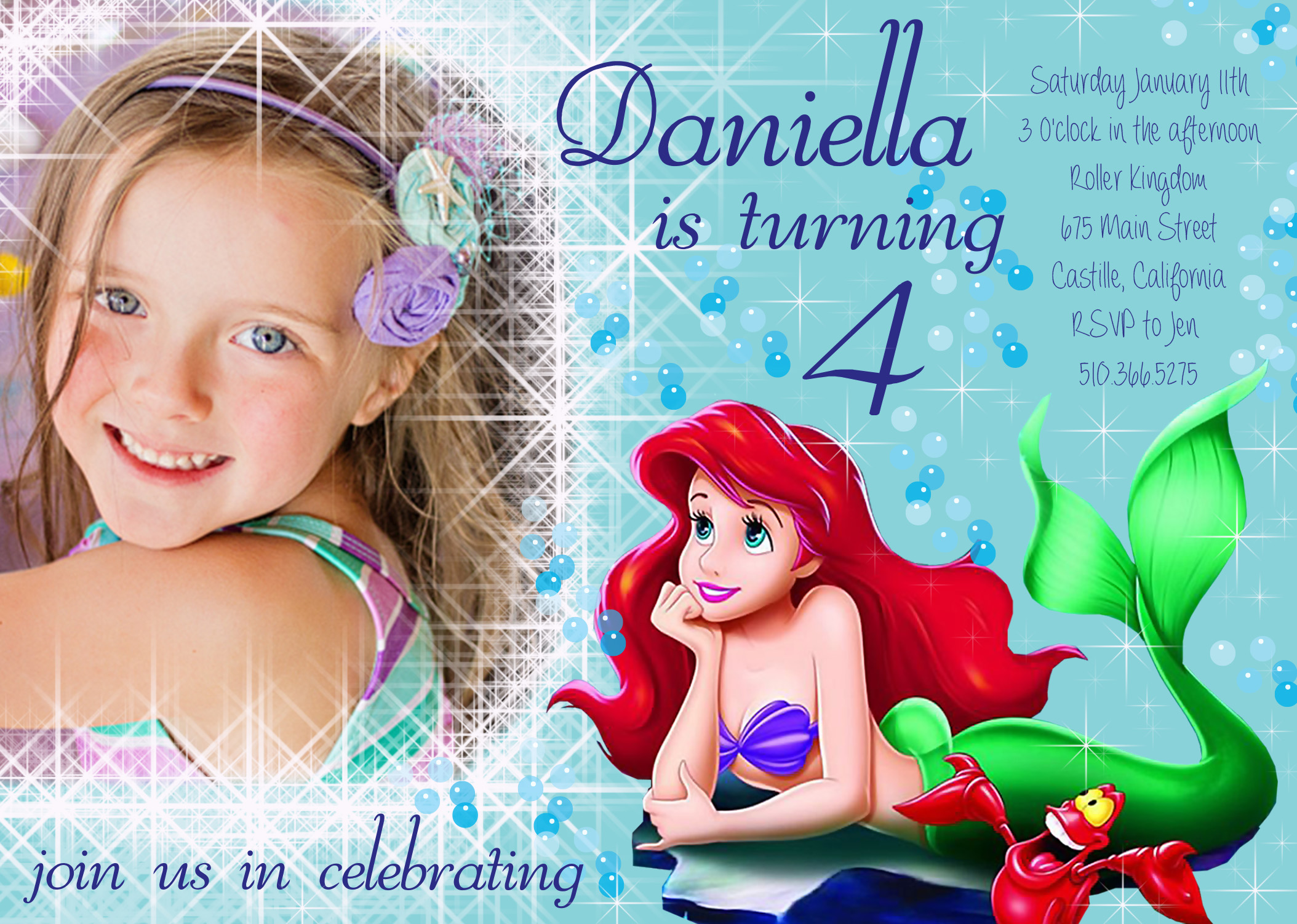 ariel birthday invitations printable ; ariel