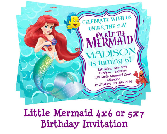 ariel birthday invitations printable ; il_570xN