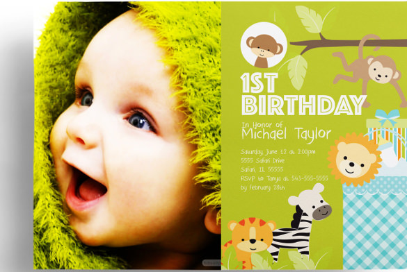baby birthday invitation template ; 1st-Birthday-Safari-Baby-Shower-Invitation