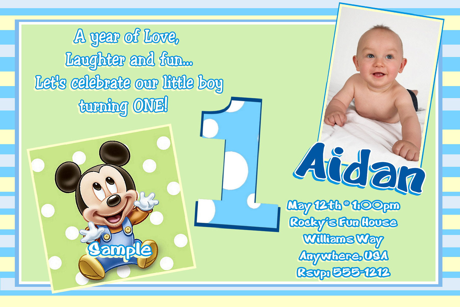 baby birthday invitation template ; Baby-Mickey-Mouse-1st-Birthday-Invitation-Wording